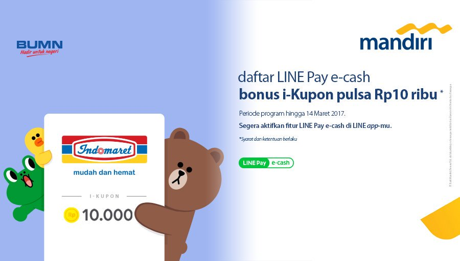 andiri e-cash dan LINE Pay e-cash